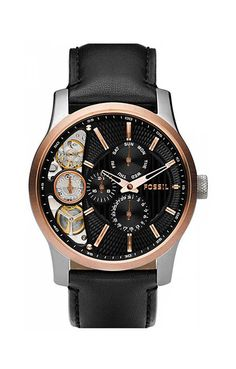 Buy Fossil chronograph Black Round Leather watch for Men-FOME1099I Helios watch Store