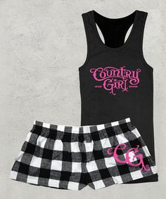 This Country Girl Black & White Check Racerback Tank & Boxer Set - Women by Country Girl is perfect! #zulilyfinds