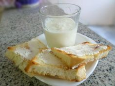Baked bread with cream cheese and yogurt