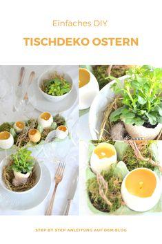 Ich zeige Euch ein paar einfache Ideen für eine Tischdekoration mit Naturmaterialien für den Ostertisch Ostern Party, Natural Living, Diy Food, Brunch, Easter, Ethnic Recipes, Inspiration, Diys, Creative
