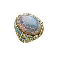 Kenneth Jay Lane Gold Opal and Crystal Cocktail Ring ($94) ❤ liked on Polyvore