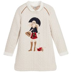 Mayoral Girls Beige Jersey Dress  at Childrensalon.com