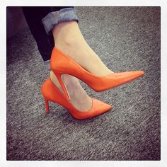 coral orange high heels. Would be nice POP for my wedding theme.