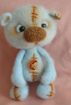 #Bear blue. #Toy handmade. Knitted toy. #Gift for children. Amigurumi. Hand-made…