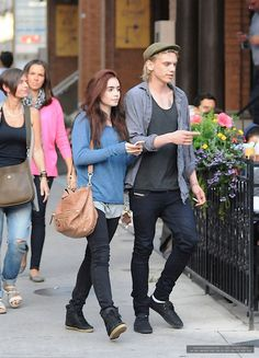Jamie Campell Bower and Lily Collins