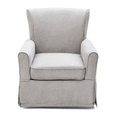 Features:  -Fully upholstered glider with gentle swivil and glide motion.  -Durable steel mechanisms to ensure quiet movements.  Frame Material: -Wood. Generic Specifications:  -Foam is polyurethane.