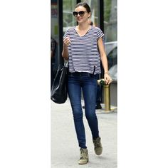 Miranda Kerr in Isabel Marant wedged sneakers and a striped tee