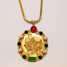 Onik Sahakian Medallion Pendant Necklace  Signed Onik. Cabochons and faux pearls surrounding the pendant. Gold gilt snake chain.  #mdvii #necklace #onik #sahakian