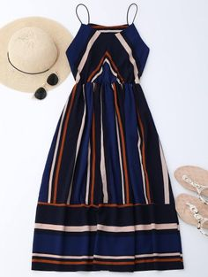 SHARE & Get it FREE | Multi Stripe Cami Midi Sundress - StripeFor Fashion Lovers only:80,000+ Items • New Arrivals Daily Join Zaful: Get YOUR $50 NOW!