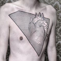 lined heart tattoo idea on the chest
