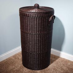 Modern laundry hamper - Saving space can be a big problem, especially when it comes to objects you use occasionally. A folding l laundry hamper can be Wicker Hamper, Rattan Basket, Shower Accessories, Cheap Storage, Laundry Hamper, Dark Brown, Diy And Crafts, Hardware, House Design