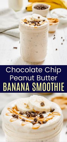Chocolate Chip Peanut Butter Banana Smoothie - indulge in your favorite flavor combination with this healthy, protein-packed recipe that tastes like dessert in a snack you can enjoy any time of the day! Check out the options to make it totally right or lighten up this gluten free treat. Fruit Recipes, Smoothie Recipes, Real Food Recipes, Smoothies, Snack Recipes, Dessert Recipes, Easy Recipes, Easy Gluten Free Desserts, Gluten Free Treats