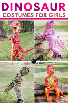 Little girl dinosaur costumes. T-rex- Pterodactyl, Stegosaurs -- whichever dinosaur your little girl wants to be this Halloween, you'll find it here. There's even a super cute dinosaur dress that she can wear even when it's not Halloween. Best Kids Costumes, Kids Costumes Girls, Diy Halloween Costumes For Kids, Toddler Costumes, Cute Halloween, Girl Costumes, Halloween Stuff, Halloween Ideas, Costume Ideas