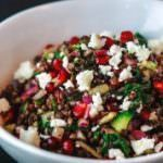 Power Brown Lentil Salad Recipe with Pomegranates and Swiss chard. Easy superfood Mediterranean salad covered in a zesty ginger-mint dressing. Delicious!