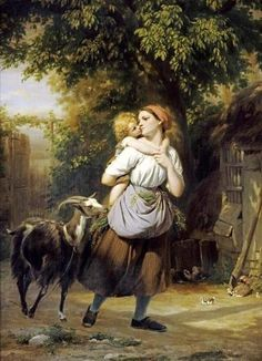 f-zuber-buhler-a-mother-and-child-with-a-goat-on-a-path