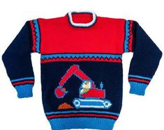 Childs sweater with JCB / digger motif - sizes - 26 - 28 - 30 - inch chest Round neck with raglan sleeves Required: mm & 4 mm needles; double knitting yarn Tension: 22 stitches x 30 rows = 4 inches using needles and stocking stitch Motif size: inches Kids Knitting Patterns, Knitting Charts, Knitting For Kids, Knitting For Beginners, Double Knitting, Lace Knitting, Knitting Designs, Kids Poncho, Crochet Kids Hats