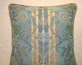 Decorative Pillow in Aqua Blue and Gold Embroidered Floral Stripe Traditional Pillows, Renaissance Fashion, Floral Stripe, Metallic Thread, Aqua Blue, Blue Stripes, Decorative Pillows, Outdoor Blanket, Throw Pillows