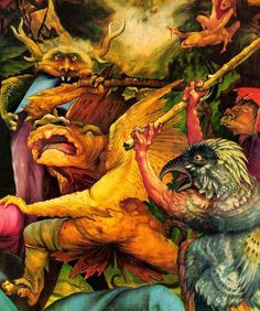 """I was instantly inspired by this portion of Grunewald's """"Temptation of St. Anthony."""" It's from a massive altarpiece he painted for a hospital. The monsters are beautiful and ghastly and I want this on my wall.  My professor later told us that some of the monsters inspired Maurice Sendak while he was making Where the Wild Things Are.  I'm also fascinated by the story of St. Margaret (she delivered herself from the belly of a devil-monster) as well as the disease call"""