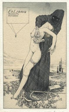 "Artworks by Alphonse Inoue (pseudonym of a Japanese artist, known for his erotic ex libris). I choose those that deal with the macabre motif ""Death and the Maiden"". Ex Libris, Illustrations, Illustration Art, Dark Fantasy, Fantasy Art, La Danse Macabre, Comics Vintage, Arte Dope, Arte Obscura"