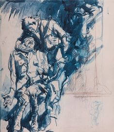 #Frank #Brangwyn Two Wounded #Soldiers (1918-1921, #ink #drawing  #Lithographic reproduction for the 1924 Brangwyn Portfolio Soldiers, British, Study, War, Drawings, Studio, Sketches, Studying, Drawing