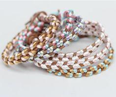 Free tutorial DIY satin cord and leather bracelets -- Pastellarmband - Slöjd-Detaljer
