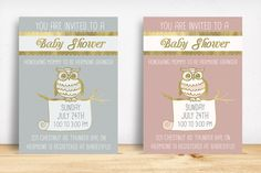 Owl Baby Shower Invitation by Knotted Design on Creative Market