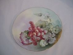 Jean Pouyat Hand Painted Green Red Grapes Decorator Plate Signed  #JeanPouyat