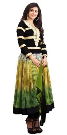 Wonderful Black And Multi-Color Georgette Anarkali Suit.