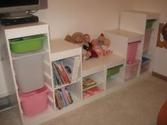 Put a comfy cushion in the middle for a reading spot. Playroom Bench, Toddler Playroom, Ikea Kids, Kids Storage, Toy Storage, Dress Up Storage, Ikea Trofast, Basement Makeover, Kid Spaces