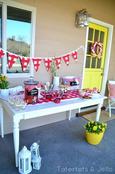 Kick off Summer Party - DIY pennant, runner, wreath and more