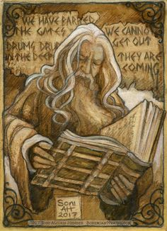 Gandalf reading about what happened to the expedition to reclaim Moria. Feels bad man.