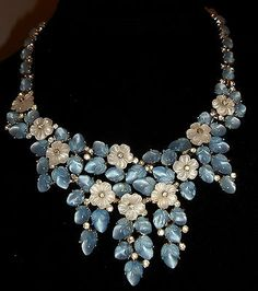 Vintage Trifari Fruit Salad Rhinestone Flowers-Draping Bib Necklace
