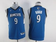 Timberwolves #9 Ricky Rubio Blue Stitched Youth NBA Jersey