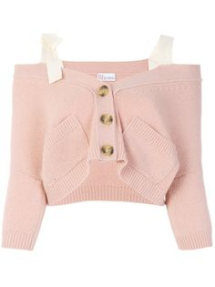Red Valentino off the shoulder button cardigan Crop Top Outfits, Pink Outfits, Teen Fashion Outfits, Kpop Outfits, Korean Outfits, Casual Winter Outfits, Classy Outfits, Pretty Outfits, Cute Outfits