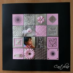 Thème métal - Page en version féminine composée de 16 carrés de 5x5 cm en papier, métal et photo. Ceux en papiers sont tamponnés ou gaufrés. Ceux en métal sont des carrés de carton (type emballage de céréales) recouverts de scotch de plomberie et gaufrés. La photo est collée sur de la mousse 3D. Le cœur est réalisé avec du fil de fer de récupération,