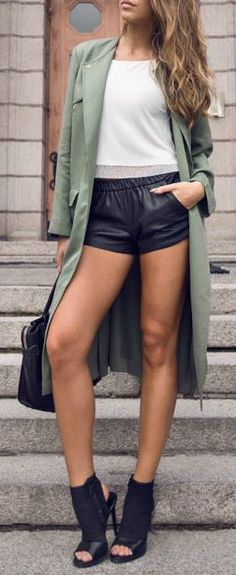 Peep toe booties + army green trench.