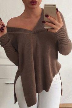Khaki V-neck Long Sleeves Splited Knit Sweater