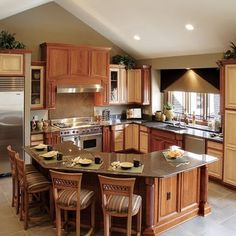 L Shaped Kitchen Island would stick with the four stools…wouldn't have space for the last, right section,but could be an option