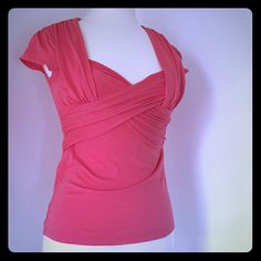 *Deletta* Salmon pink top Deletta by Anthropologie  Rouging bust Pre owned but still in good condition no holes or stains Anthropologie Tops Tees - Short Sleeve