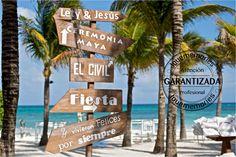 Señalizador Boda en playa #Cancun