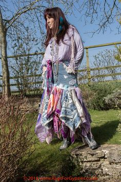 Gypsy Cowgirl skirt Upcycled Bohemian by RagsForGypsies on Etsy