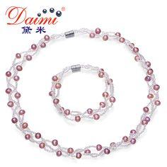 Daimi naturalne perły naszyjnik bransoletka biżuteria ślubna, 5-6mm Hodowlane Perły Białe Pink Lavender Pearl Zestawy, Zestawy Biżuterii ślubnej