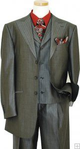 Luciano Carreli Collection Charcoal Grey Herringbone With Wine Pinstripes And Charcoal Grey Hand-Pick Stitching Super 150'S Silk & Wool Vested Suit 6286-2006