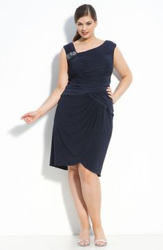 Adrianna Papell Beaded Asymmetrical Neck Dress (Plus)  #AdriannaPapell #Cocktail