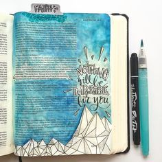 """I decided to sit on the verse that I did yesterday a little bit longer by moving it into my bible today. I have read over this verse in Matthew 17 many times but never highlighted or thought too much on the section """"nothing will be impossible for you."""" So I spent some time thinking on that this past day or so and it's becoming pretty powerful. Just a mustard seed of faith can move mountains!! I'm so glad God doesn't require us to be FULL of faith before He moves those mountains in our life…"""