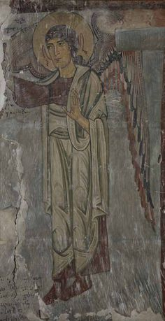 Saint Archangel. North wall of the Archangels' church, 11th century, Zemo Krikhi, Racha (West Georgia) Copy by T. Sheviakova. 1948. Paper, Tempera. 168.90 cm. GNM, Shalva Amiranashvili Museum of Fine Arts.