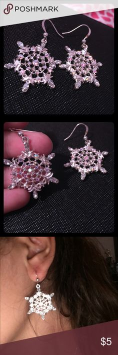 Snowflakes earrings Stirling Silver studded snowflake. Catches the reflection of light Jewelry Earrings