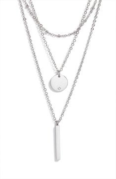 Layered Chain Necklace, Layered Necklaces Silver, Strand Necklace, Pendant Necklace, Emo Jewelry, Fashion Jewelry, Women Jewelry, Pendant Design, Round Pendant