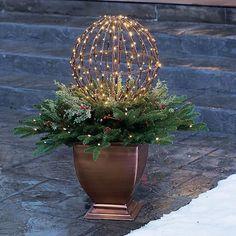Outdoor Christmas Planters, Christmas Urns, Diy Christmas Lights, Silver Christmas Decorations, Christmas Garden, Christmas Crafts, Christmas Holidays, Holiday Decor, Winter Planter
