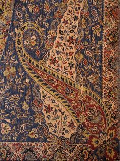 Large Superior Jamavar Shawl Paisley Jamawar from India Heavy Very Detailed Textile Patterns, Textile Design, Textile Art, Textiles, Kashmiri Shawls, Paisley Pattern, Persian Rug, Bohemian Rug, Antiques
